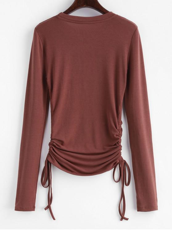 LatéralChâtaigne shirt Cordon T S À Longues Maigre Manches Aq35Rj4L