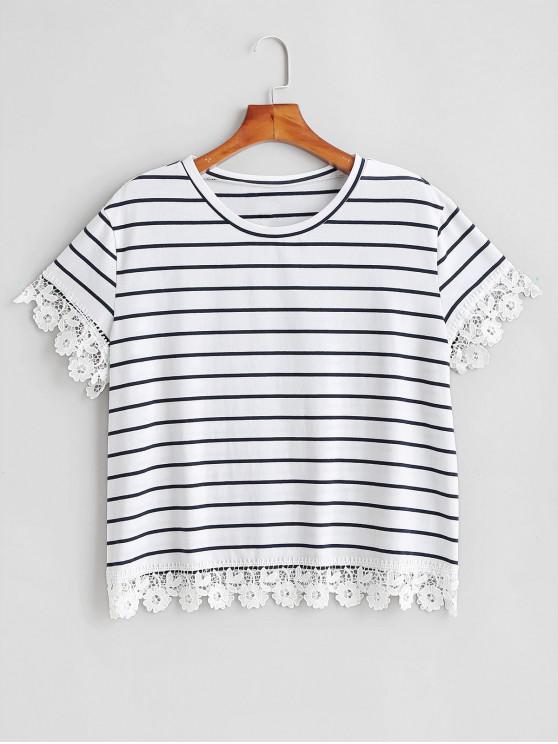 T-Shirt Plus Size A Righe Con Bordi All'uncinetto - Bianca 1X