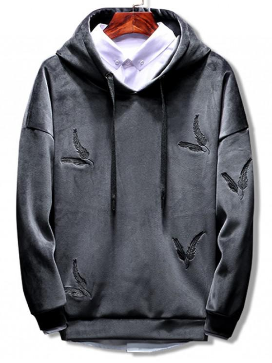 Solid Feather Embroidery Velvet Hoodie - Grau M