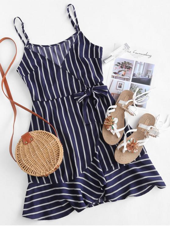 women's ZAFUL Knotted Ruffles Stripes Surplice Dress - CADETBLUE S