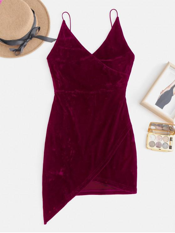 womens Strappy Open Back Velvet Mini Party Dress - FIREBRICK L