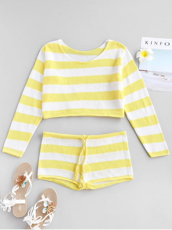 new Striped Crop Sweater and Shorts Set - YELLOW ONE SIZE