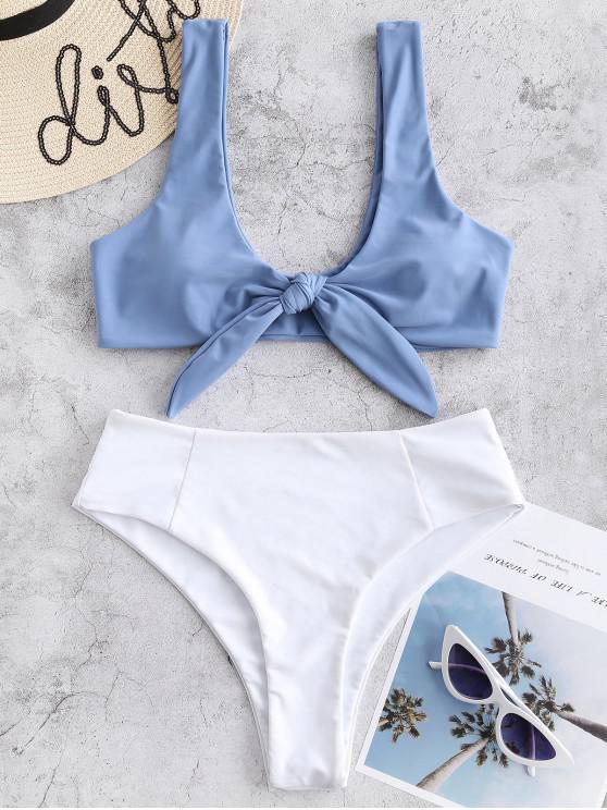 Bikini de Cintura Alta con Dos Tonos Atados - Gris Azulado S
