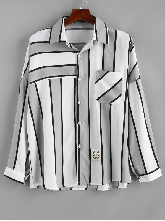 ladies Long Sleeves Striped Drop Shoulder Shirt - GRAY GOOSE L