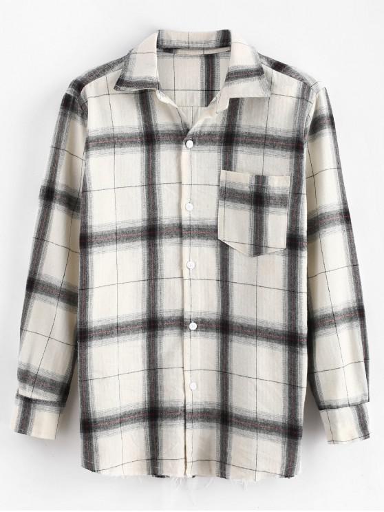 Kariertes rohes Hemd mit langen Ärmeln - Weiß L
