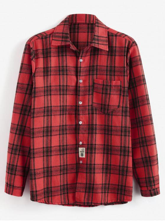 womens Patch Design Check Long Sleeves Shirt - RED 3XL