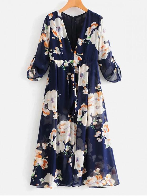 best Long Sleeve Floral Maxi Romper - MULTI L