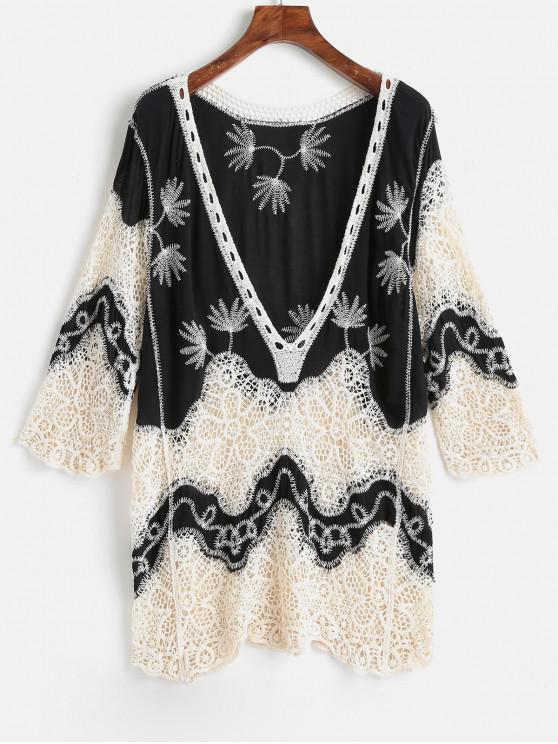 trendy Crochet Plunge Beach Cover-Up Dress - BLACK ONE SIZE