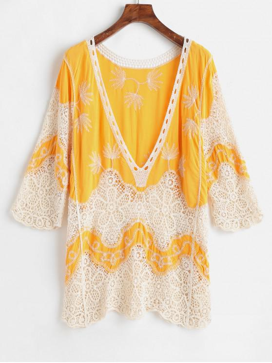 latest Crochet Plunge Beach Cover-Up Dress - BRIGHT YELLOW ONE SIZE