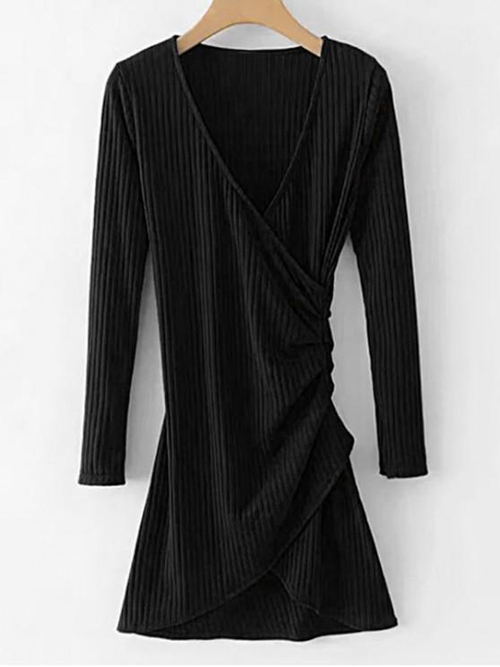 lady Long Sleeve Ribbed Draped Dress - BLACK M