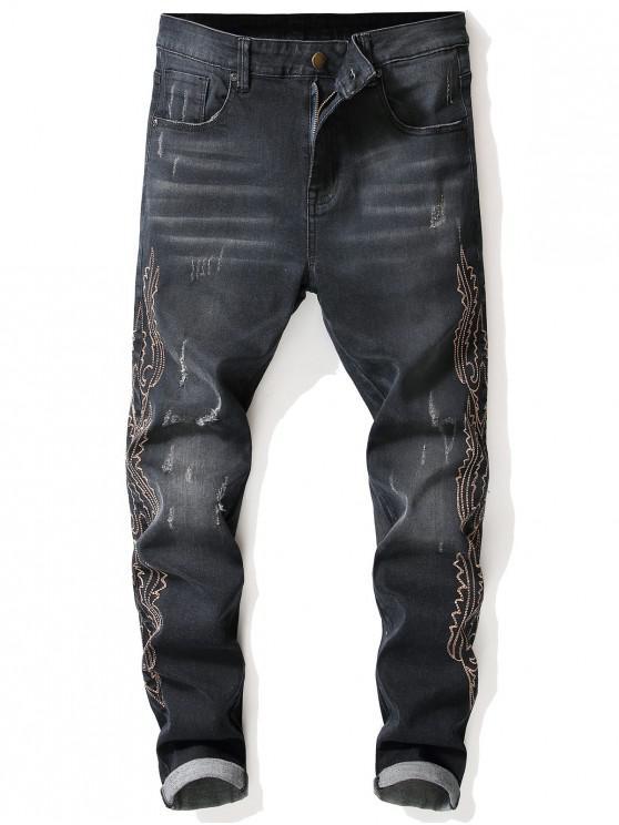 womens Side Vintage Patten Seam Faded Jeans - DENIM DARK BLUE 38