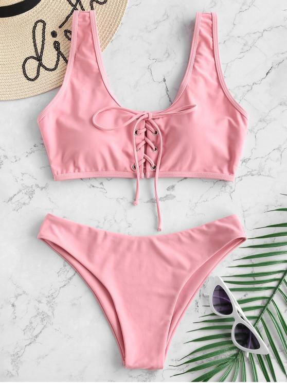 shops Lace Up Padded Bikini Set - FLAMINGO PINK L