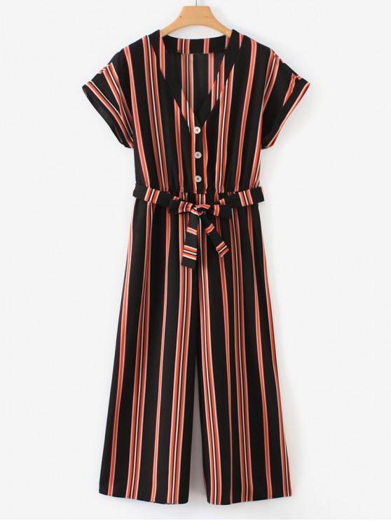 lady Half Buttoned Stripes Wide Leg Jumpsuit - MULTI L