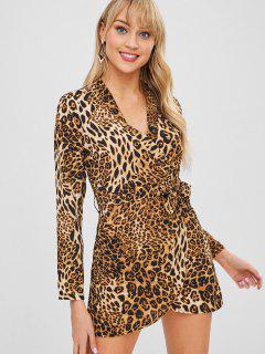 Belted Leopard Print Mini Wrap Dress - Leopard M