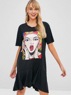 Braided Ruffle Hem Graphic Tee Dress - Black S