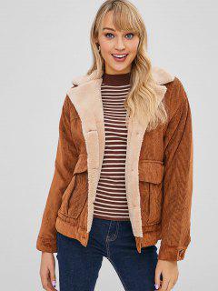 Button Up Plain Sheepskin Coat - Brown L