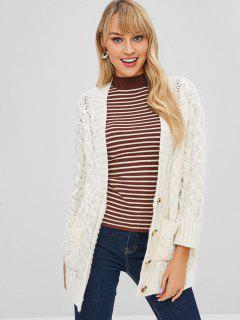 Button Up Plunge Cable Knit Cardigan - Blanco L