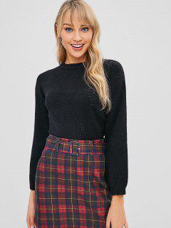 Eyelet Crop Sweater - Black