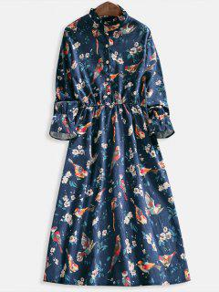 Floral Print Half Button Flare Dress - Deep Blue M