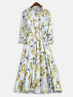 Ruffle Neck Floral Print A Line Dress - Multi L