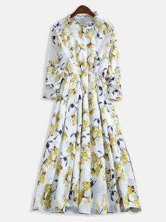 Robe En Ligne à Imprimé Floral à Encolure à Volants - Multi Xl