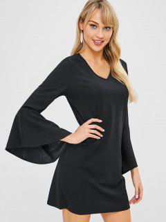 V Neck Bell Sleeve Mini Shift Dress - Black M
