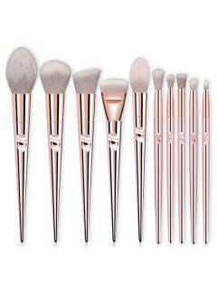 Professional 10 Pcs Ultra Soft Fiber Hair Cosmetic Brush Suit - Rose Gold