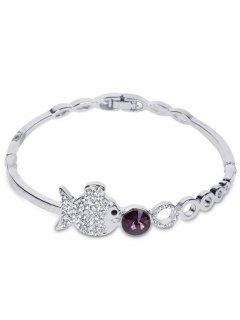 Metal Fish Bubble Rhinestone Bracelet - Silver