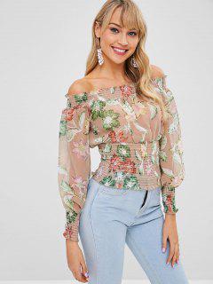 Blusa Floral Con Hombros Descubiertos - Verde L