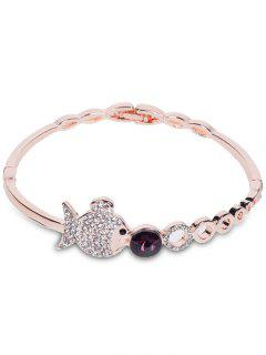 Metal Fish Bubble Rhinestone Bracelet - Rose Gold