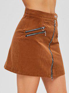 Asymmetric Zipper Corduroy Flare Skirt - Light Brown S