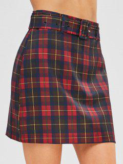 Belted Plaid A Line Skirt - Red L