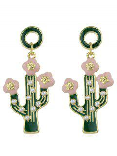 Enamel Cactus Shape Drop Earrings - Green