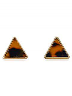 Marble Pattern Triangle Shape Stud Earrings - Light Brown