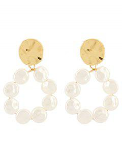 Unique Faux Pearl Round Design Earrings - Gold