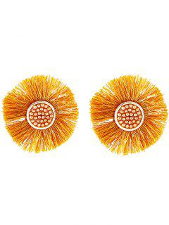 European American Floral Tassel Stud Earrings - Yellow