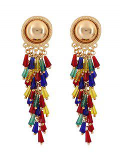 Multicolor Ethnic Round Metal Stud Earrings - Gold
