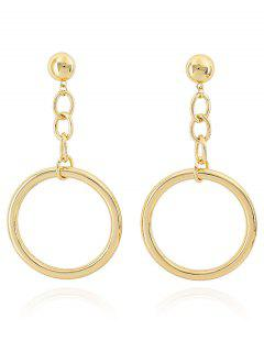 Circle Shape Round Drop Earrings - Gold