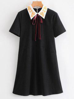 Bow Tie Embroidered Mini Dress - Black S
