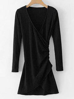 Vestido Drapeado Acanalado De Manga Larga - Negro L