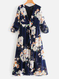 Long Sleeve Floral Maxi Romper - Multi L