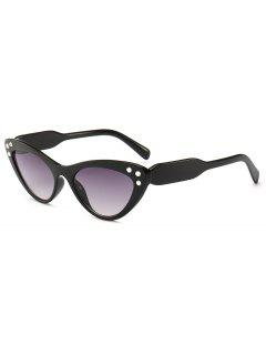 Cat Eye Design Rhinestone Sunglasses - Black