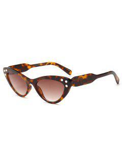 Cat Eye Design Rhinestone Sunglasses - Leopard