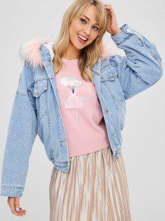 Faux Fur Hooded Fleece Denim Jacket - Denim Blue