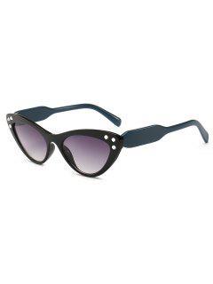 Cat Eye Design Rhinestone Sunglasses - Dark Green
