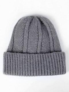 Winter Flanging Knit Slouchy Beanie - Dark Gray Regular