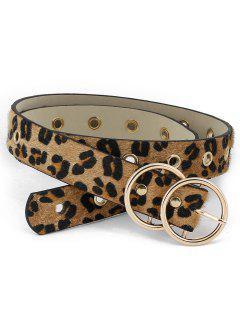 Leopard Pattern Metal Buckle PU Leather Belt - Leopard
