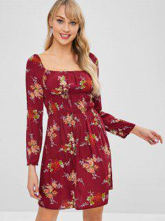 ZAFUL Floral Long Sleeves A Line Dress - Red Wine Xl