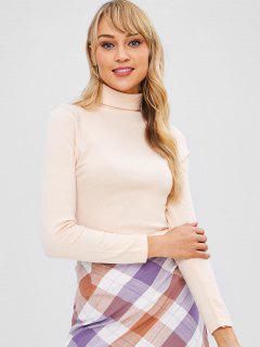 Suéter Jersey De Cuello Alto - Albaricoque