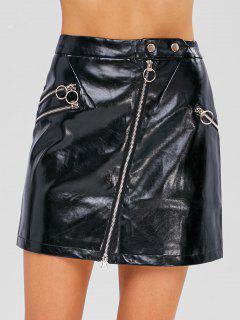Zipper Embellished Plain Faux Leather Skirt - Black L
